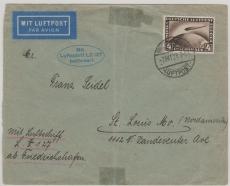 DR 424, als EF auf Bedarfs- Brief nach St Louis, rs. Ankunftsstempel New York