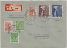 Zehnfachfrankatur OST, mit Kontrollrat 952, 950 u.a. auf gelaufenem E- Brief