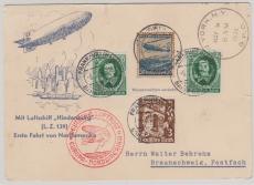 DR 606 u.a. in MiF auf Postkarte zur 1. Nordamerikafahrt von FF/M. via New York nach Braunschweig