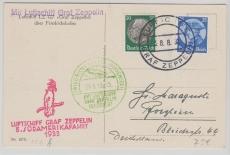 DR 492, u.a. als MiF zur 5. Südamerikafahrt 1933, auf Postkarte, nach Pforzheim
