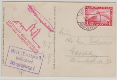 DR 455, EF (Magdeburgfahrt 1931) auf Zeppelinpostkarte nach Magdeburg,