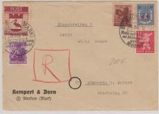 Storkow Nrn.: 3, 5, 6, 7 +12 in MiF auf E.- Brief nach Sömmerda