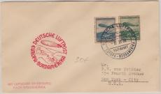 DR 606 + 7, in Satz- MiF auf Brief, zur 10. Nordamerikafahrtbefördert per Zeppelin nach New York