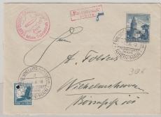 DR 682, u.a. MiF zur Sudetenlandfahrt 1938, rs. mit Transitstempel, nach Wilhelmshaven, mit Nachporto belegt