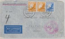 DR 531+ 533 (2x), als MiF auf Brief, von Hamburg per Zeppelin nach Valparaiso (Chile)