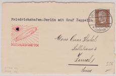 DR 420 als EF auf Postkarte, zur Deutschlandfahrt 1934, von Friedrichshafen nach Berlin und dann nach Zürich