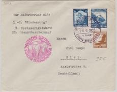 DR 568 u.a. in MiF auf Brief zur 9. Nordamerikafahrt nach New York (hier Transitstempel rs.) nach Kiel