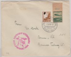 DR 607 u.a. auf Brief zur Olympiafahrt nach Perlin (hier Transitstempel rs.) und dann nach Bonn