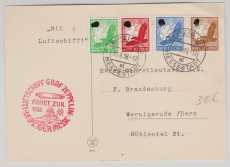 DR 529 u.a. auf Zeppelinpostkarte zur Fahrt zur Leipziger Messe, von da nach Berlin