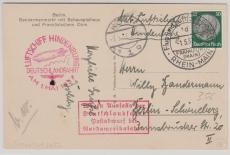 DR 525 EF auf Postkarte, zur Deutschlandfahrt 1937 (mit Zusatzstempel...) von FF/M. via Köln nach Berlin