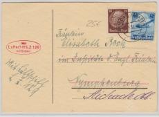 DR 603 u.a. auf Postkarte via LZ 129 nach Aichach