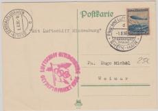 DR 606 als EF auf Postkarte zur Olympiafahrt via FF/M., Berlin, nach Weimar
