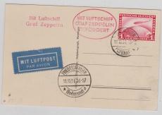 DR 455, als EF auf Postkarte via Zeppelin von Meiningen via Friedrichshafen nach ???