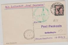 DR 382 als EF auf Zeppelin- Foto- Postkarte (LZ 127) zur Pommernfahrt 1931 von Stettin via Friedrichshafen nach Berlin
