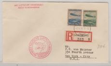 DR 606 + 7, in Satz- MiF auf E.- Brief, zur Nordamerikafahrt befördert per Zeppelin nach New York (n´s. mit AK Stempel)