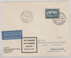 DR, Mi.- Nr.: 365, als EF auf Lupo- Luftschiffbrief nach Zürich (Schweiz), mit Ankunftsstempel