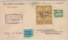 USA div. Marken, Brief zur 9. Rückfahrt via R.- Lupo- Zeppelinbrief, von Philadelphia, via New York nach Goerlitz