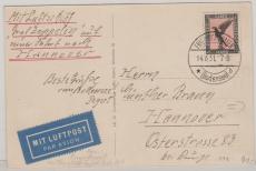 DR 382 als EF auf Zeppelin- Foto- Postkarte (LZ 127) zur Hannoverfahrt 1931 von Stettin via Friedrichshafen nach Han.