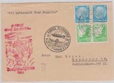 DR 529 u.a. auf Karte zur Deutschlandfahrt 1939, Landung in Kassel, nach Hannover