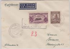 Paraguay, div. Marken, 1935, E.-  Brief von Paraguay nach Bremen via Zeppelin