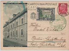 Italien, div., italienische GS mit Zeppelin Zusatzfrankatur, gelaufen zur Romfahrt 1933 nach Berlin, mit Transitstempeln