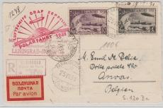 UDSSR, div. Zeppelin- Marken, Mif zur Polarfahrt auf Zeppelin- E. Postkarte via Malyguin, Leningrad nach Anvers (B.)