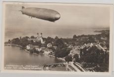 DR 516, als EF zur Erinnerungspostkarte (mit Zeppelinfoto, rs.) zum Besuch der Zeppelin Werft in Friedrichshafen