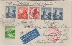 DR 682 (3x) u.a. auf Brief zur Sudetenlandfahrt 1938, von FF/M. nach Berlin, rs. Transitstempel Reichenberg