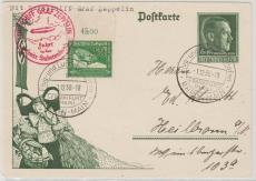 DR 670 (vom OR) auf 6 Pfg. AH- GS, auf Karte zur Sudetenlandfahrt 1938 von FF/M. nach Heilbronn, rs. mit Transitstempel