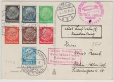 DR 521 u.a. auf Ausgabengleicher MiF auf Postkarte zur Deutschlandfahrt 1937, mit div. Stempeln