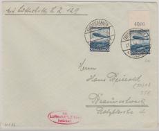 DR 606 als MEF auf Zeppelinbrief nach Braunschweig