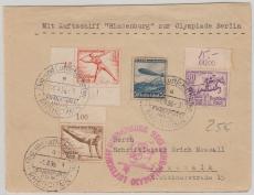 DR 616 u.a., auf Brief zur Olympiafahrt 1936, von FF/M. via Berlin nach Pasewalk, rs. mit Transitstempel