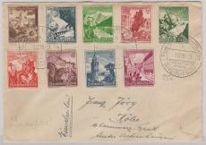 DR 675- 683, Satzbrief- MiF zur Sudetenfahrt 1938, von FF/M. nach Sachsenhausen, rs. Transitstempel Reichenberg
