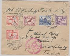 DR616 u.a. aus dem Satz, als MiF auf Brief zur Olympiafahrt 1936, von FF/M. über Berlin nach Obersdorf