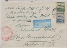 DR 606/7 auf Satzbrief zur 1. Amerikafahrt und zurück, von FF/M. via New York nach Bad Cannstadt