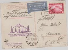 DR 455 als EF auf Zeppelinpostkarte zur Oberschlesienfahrt 1931, von Friedrichshafen via Gleiwitz nach Arnau CSSR!