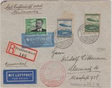 DR 538 + 606/7 als MiF auf Lupo- Zeppelin- E. Brief von FF/M. nach New York und von da nach Chemnitz