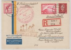 DR 455 u.a. in MiF auf E.- Brief zum Anschlußflug der 7. Südamerikafahrt 1932, von Berlin nach Recife- Pernambuco