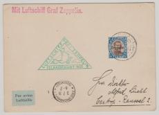 Island, 1 Krona- Zeppelin- Überdruckmarke als EF auf Karte von Island (zur Islandfahrt 1931) nach Castrop- Rauxel