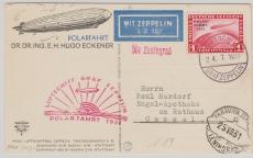 DR 456 (1 Mk. Polarfahrt) als EF zur Polarfahrt 1931, Abwurf Leningrad, rs. Bild von Dr. Hugo Eckner