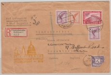 DR 456 (1 Mk. Polarfahrt) u.a. als MiF auf E.- Brief zur Englandfahrt 1932, nach Brighton