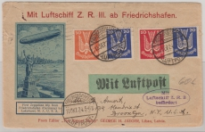 DR 347 u.a auf ausgabengleicher MiF, auf Brief per LZ Z.R.3 nach New York (1924!) rs. mit Transit- und Eingagsstempel