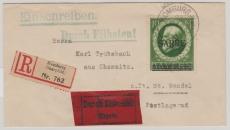 31, als EF auf Einschreiben- Eilboten- Fernbrief von Homburg (Saarpfalz) nach St. Wendel, auf Trübsbachbrief