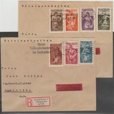 171- 77 auf 2 Briefen, je als Einschreiben- Expres- Fernbrief von Saarbrücken nach Burg Lobeda