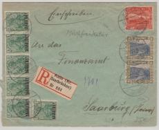 32 (21x) u.a. vs u. rs. auf Einschreiben- Fernbrief von Kölln nach Saarburg