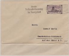 189 EF als Ortsbrief innerhalb Saarbrückens, mit Werbestempel Heute Volksabstimmung