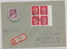 Meissen Nr. 32+ 34 (4x) als MiF auf E.- Brief nach Radeberg