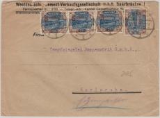 71 A (4x) in MeF auf Fernbrief von Saarbrücken nach Karlsruhe