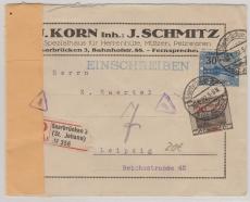 74 A + 76 A als MiF auf Einschreiben- Fernbrief von Saarbrücken nach Leipzig, rs. mit Zensur und Zensurstempel FF/M.