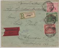 86, 89 + 94, in MiF auf Einschreiben- Expres- Fernbrief von Saarbrücken nach Salzungen, mit grünem R.- Zettel!!!